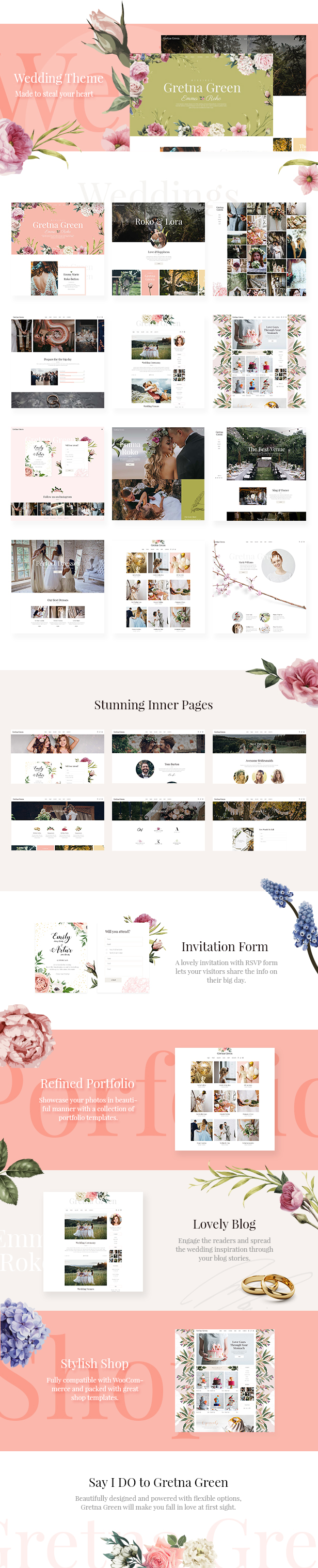 WordPress theme Gretna Green - A Stylish Theme for Weddings, Event Planners and Celebrations (Wedding)